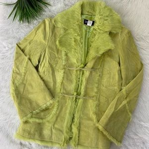 Bareback chartreuse green suede fur coat L